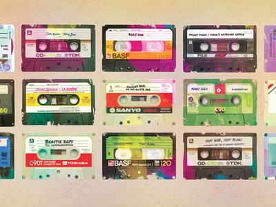 audiotape - My teenager playlist illustration vintage k7 cassette audio audiotape
