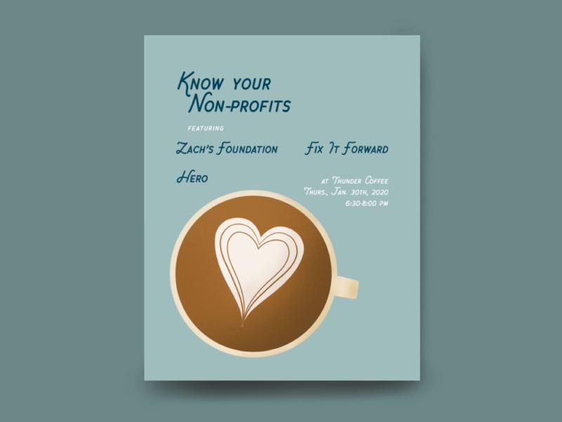 Know Your Non-profits Event Graphic indesign procreate latte