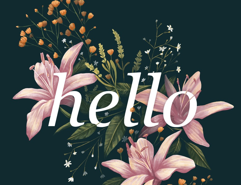 Hello! florals procreate painting digital painting floral art floral design jean yanga detailed organic typography flowers design floral illustration hello dribbble hello