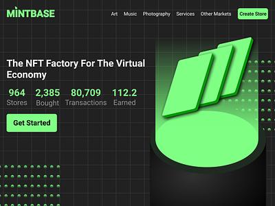 Mintbase.io Redesign Concept concept redesigned dark mode dark branding soft crypto mintbase green 3d dark theme