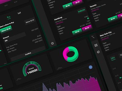 Weather Stock Market UI ux soft predictions stock market weather duotone pink green high contrast dashboad metrics graphs app desktop ui dark mode dark theme