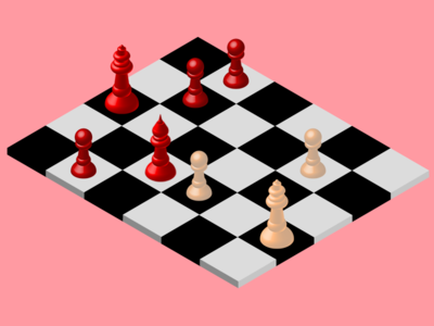 Isometric Chess Board design ivory red illustrator checkerboard board chess 3d isometric