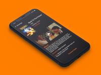 Movie Tickets Mobile IOS App Design tickets showtimes theatre movie mobile perspective simple orange dark theme dark mode ux ui dark app ios