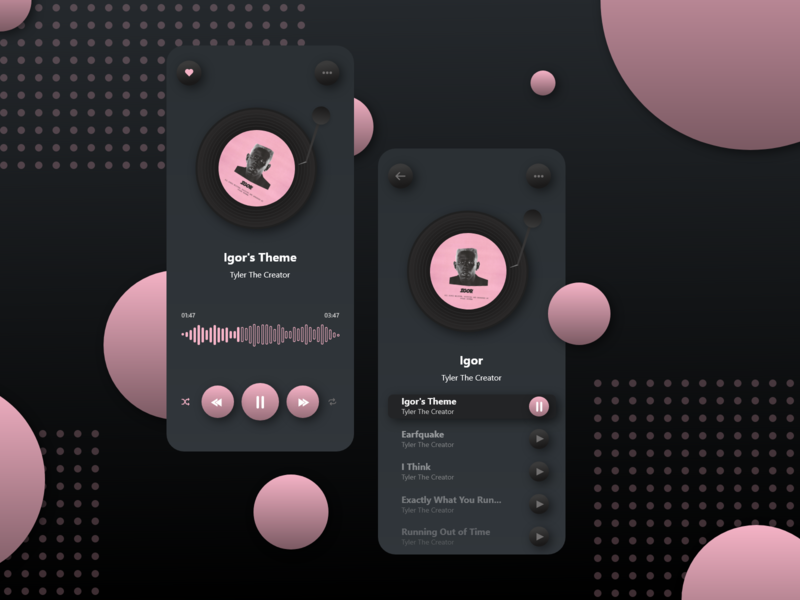 Soft Record Player Music App tyler the creator igor players record mobile ios spotify music app music design uiux soft dark theme dark mode