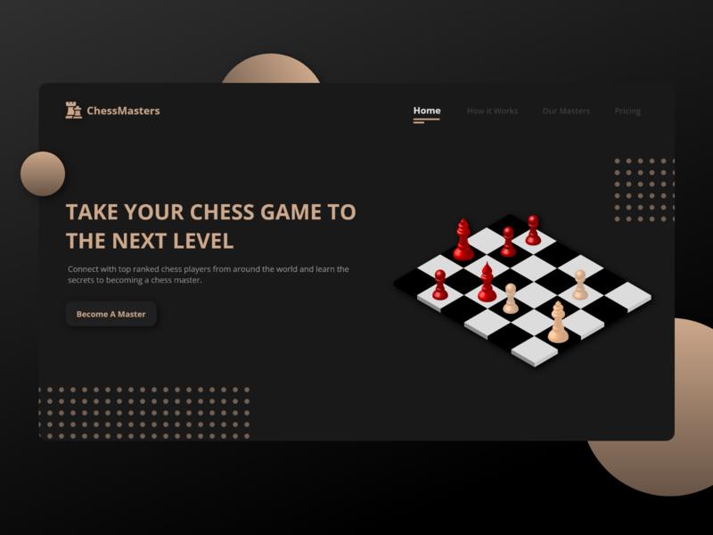 Dark Chess Landing Page coffee sepia chess masters ui design desktop landing page chess learn chess chessboard 3d dark theme dark ux ui
