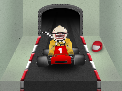 Karting time! Welcome screen illustration photoshop ui iphone app icon hand drawn