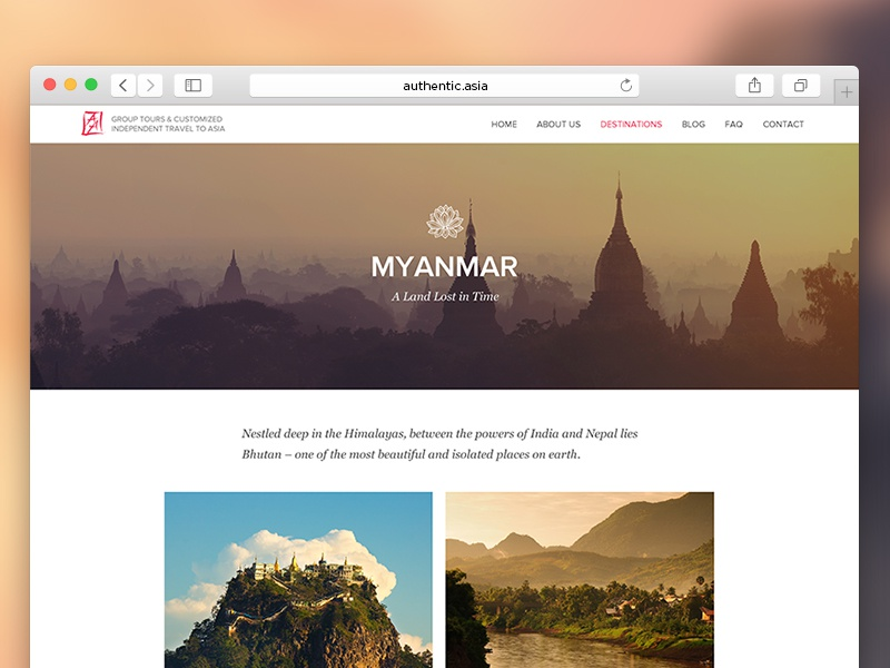 Authentic Asia design ui ux web website webdesign travel five