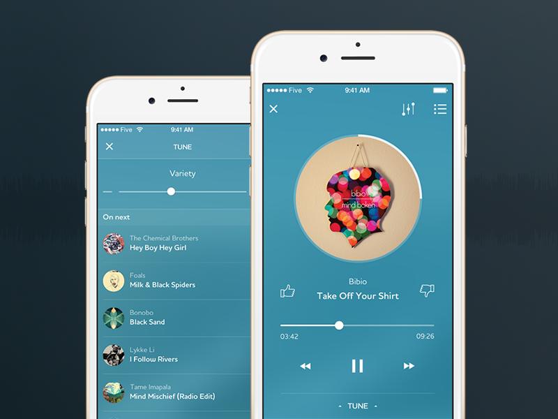 Rhapsody/Napster music player ios app iphone ui ux five design mobile music rhapsody interface