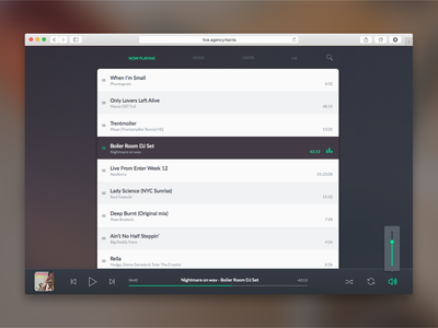 Five Bucket Player ui ux web design five web design music player interface bucket