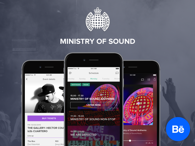 Ministry of Sound Behance ui ux app design ios five iphone mobile music player interface behance