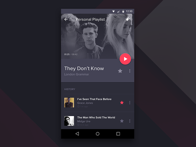 Material Music Player application app details screen player music ui dark android l material android mobile