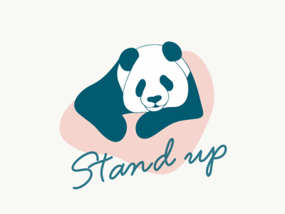 Stand up Panda apple pencil linedrawing illustration
