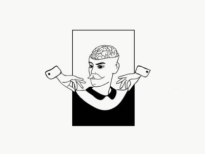 Brain drain line drawing illustration