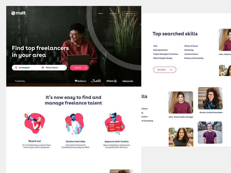 Freelancer plateform landing page uiux ui webdesign