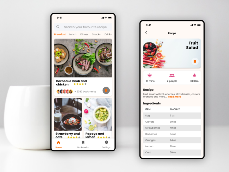 Recipe application search favourite ratings minimal design bookmark cards orange food recipe ios app design visual design ui design ux design
