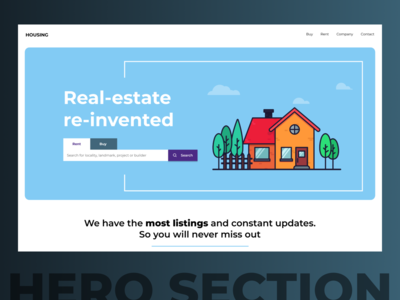Hero Section - Real estate web site cta button sky blue real estate illustraion hero section hero banner uxdesign uidesign