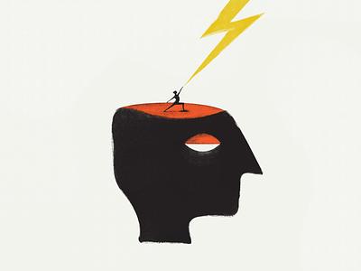 Brainstorm concentration kacperczyk strategy thinking concept idea man lightning brainstorm brain retro face