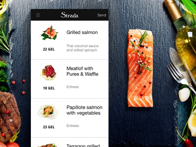 Strada cafe App shop restaurant flat app iphone animation gif ios food design ux ui