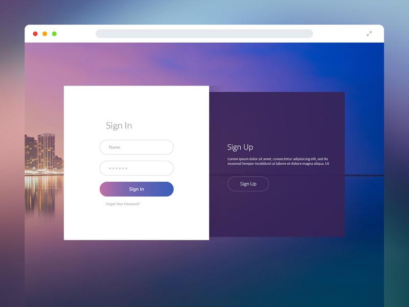 Sign In & Sign Up Form browser login ui ux web design gradient registration up form sign in
