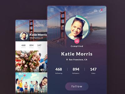 User Profile flat mobile plus 6 iphone profile interface app design ui web ux