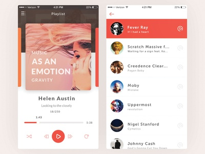 Music Player design ios android playlist list flat interface app ux ui music player