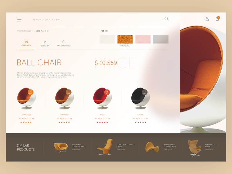 Furniture web interface page product website ux store ecommerce chair room ui material furniture design