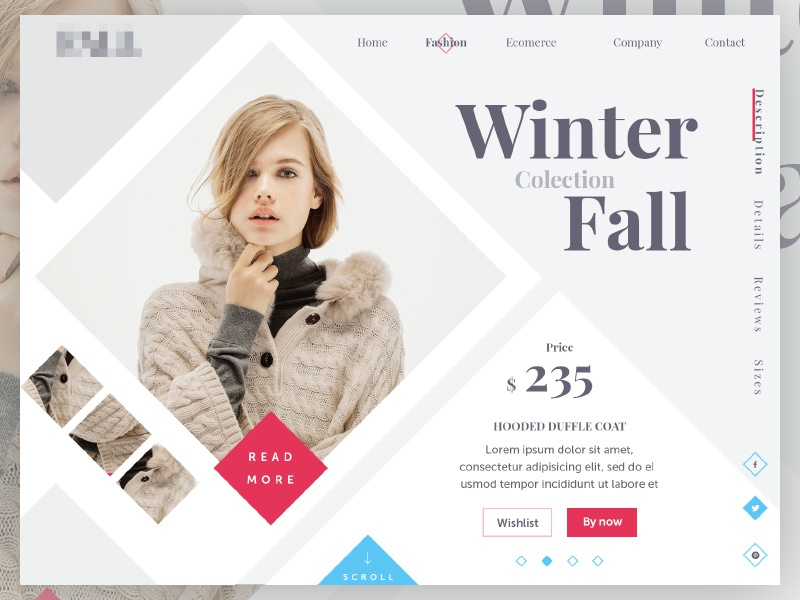 Winter Fall Colection ui ux web design interface flat website site checkout commerce marketing fashion