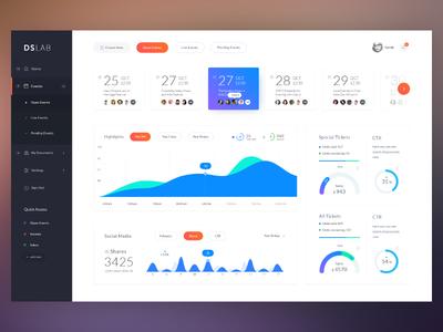 Events Dashboard app design admin data analytics graph charts calendar layout statistics dashboard interface