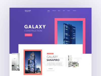 Galaxy Construction property ui page landing web ux typography layout interface design buildings architecture