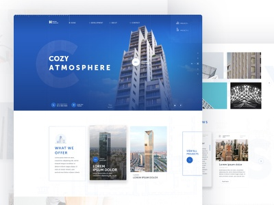 Horizon Construction property website web design user interface clean landing page architecture buildings design layout typography ux