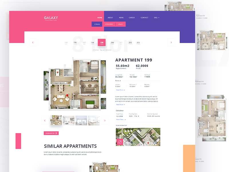 Apartment property website web design user interface typography layout design buildings architecture apartment