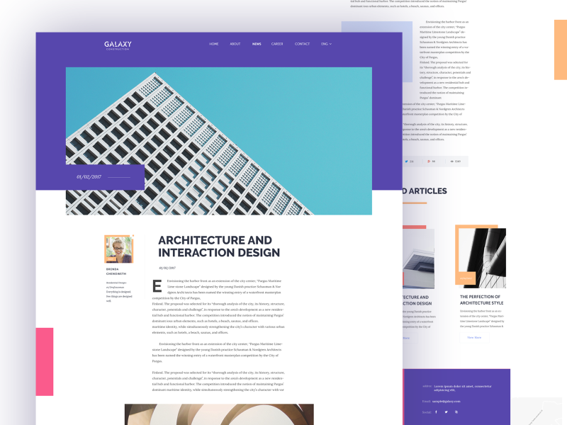 Article Page ux typography layout design buildings architecture landing page clean user experience user interface web design website
