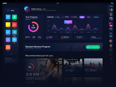 Fitness App Interface ux ui tracker statistics interface graph flat fitness design chart apps activity