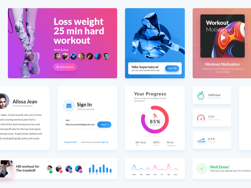 Fitness App UI Elements ux ui statistics interface graph flat fitness elements design chart app activity