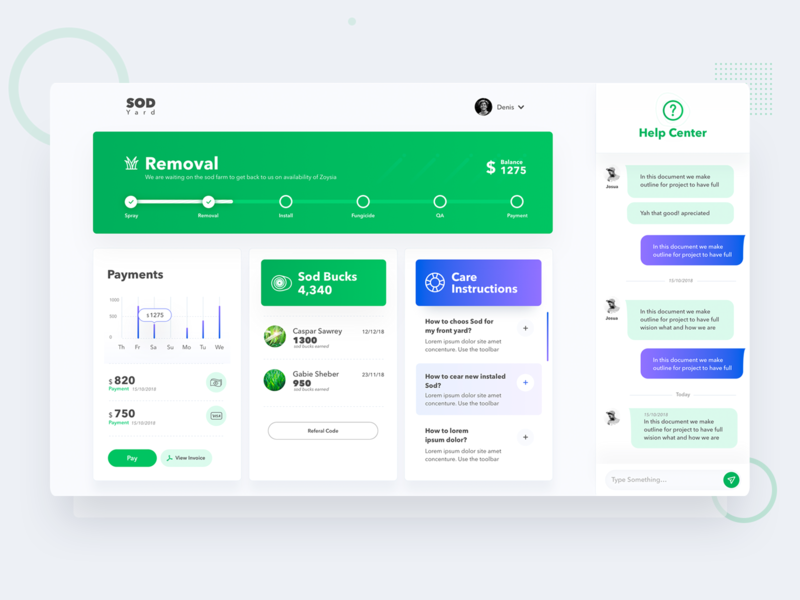 Interface UI For Sod Delivery Company vector illustration clean typography site layout website interface web ui design ux
