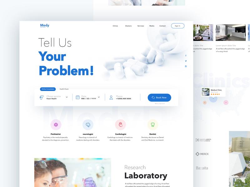 Medydoc Landing Concept typography layout interface design web ux ui service webside app medical healtcare health