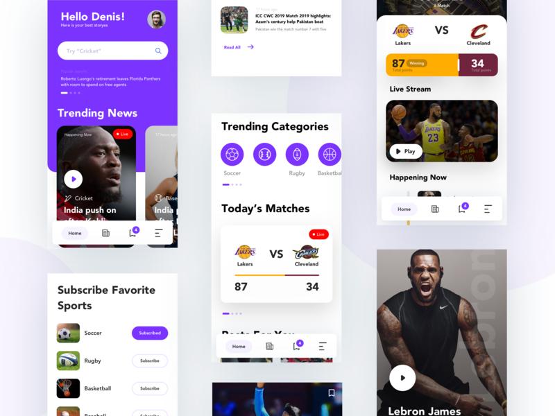 Sport News App UI web design mobile layout clean illustration ios typography site interface web ui design ux