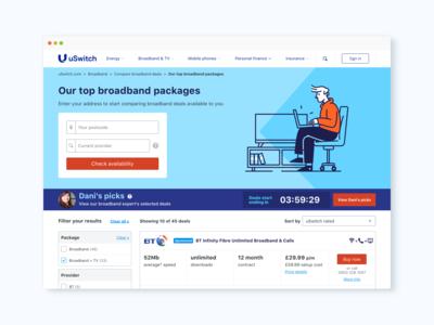 uSwitch Broadband homepage