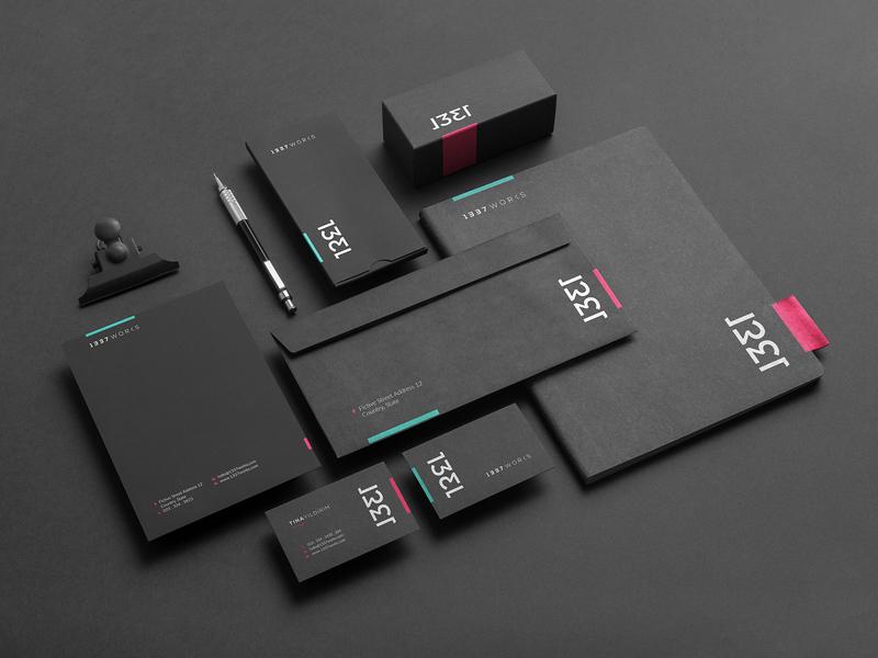 1337 Works Branding stationery design stationery identity design idenity brand custom branding custom logo logo design logo brand identity branding