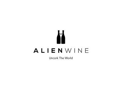 Alien Wine Logo wine logo wine alien logo alien negative space logo negative space clean logo minimal custom logo logo design logo