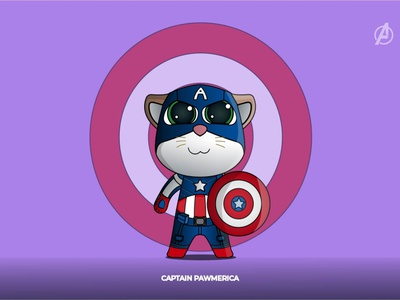 CAPTAIN PAWMERICA funny illustration funny character characterdesign character concept avengersendgame design lineart flat captain america catlovers cat avengers illustration vector adobe illustrator