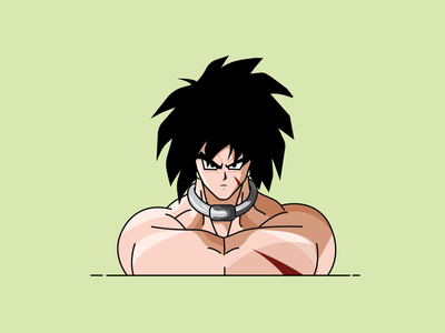 broly illustrator monoline dragonball dbz ui characterdesign lineart illustration flat design adobe illustrator vector