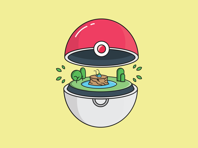 pokeball green catch bulbasaur blue pokeball pokemon logo funny illustration character concept characterdesign lineart flat illustration design adobe illustrator vector