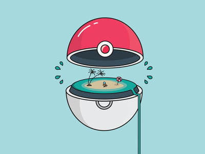 pokeball 2 waterfall water blue squirt pokeball pokemon characterdesign monoline illustrator character concept design flat lineart illustration adobe illustrator vector