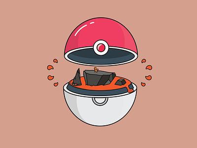 pokeball 3 pokemon go orange fire charmander pokeball pokemon character concept illustrator logo characterdesign lineart illustration flat design adobe illustrator vector