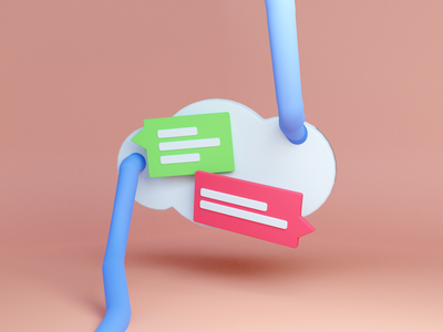 Cloud communication illustration ui 3d
