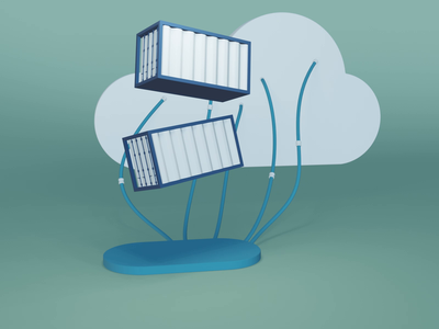 Cloud Containers minimal blender icon design animation animated illustraion 3d