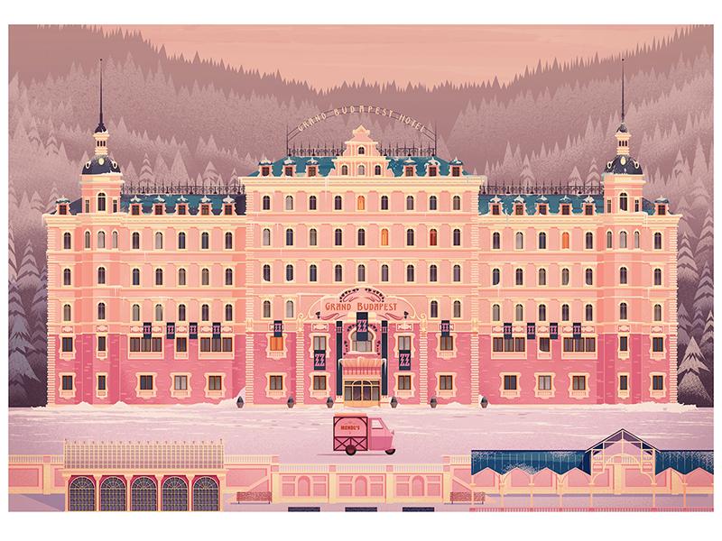 Grandbudapest vintage retro film vector illustration nofun gallery grand budapest hotel wes anderson james gilleard