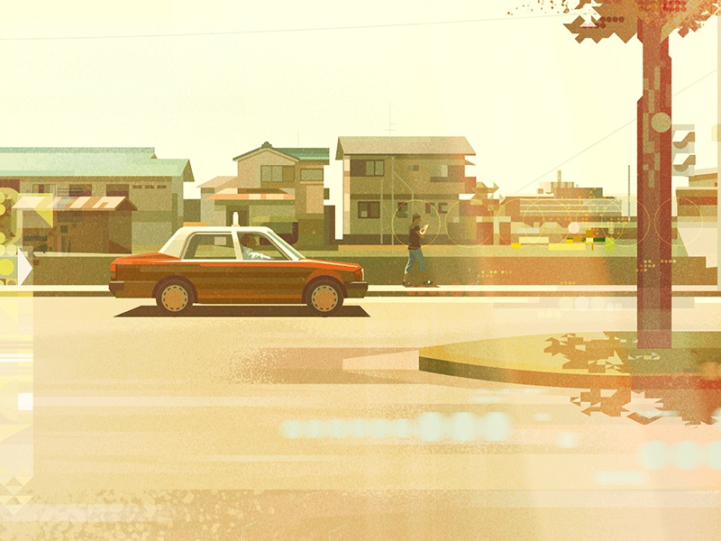 Japan by car no.2 architecture landscape retro illustration glitch vector japan car james gilleard