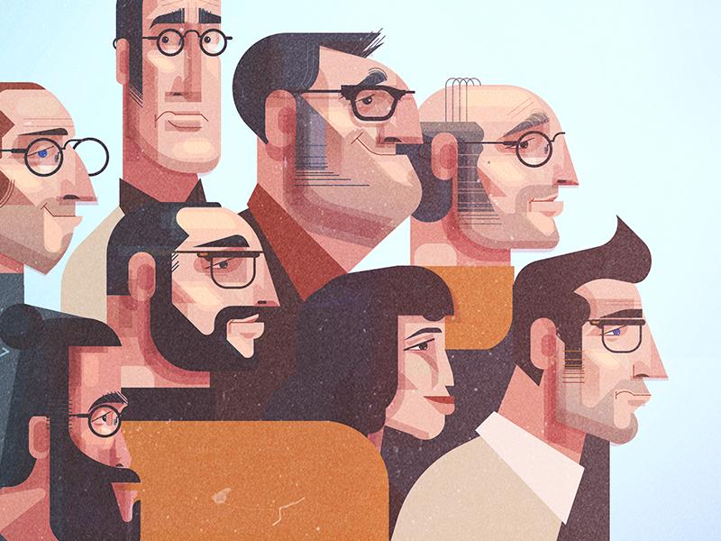 Characters characters vector digital illustration james gilleard